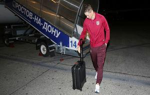 Fernando Torres en un viaje del Atlético esta temporada
