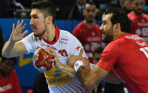 Alex Dujshebaev en el partido ante Túnez.