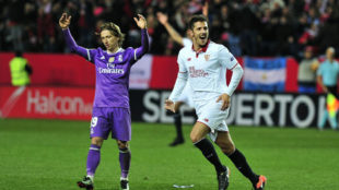Jovetic celebra el gol del triunfo sevillista