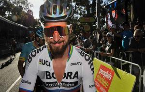 Peter Sagan, el domingo en la línea de salida del critérium...