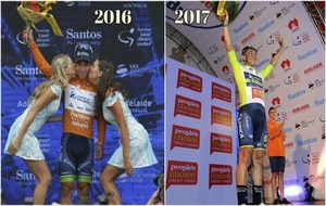Caleb Ewan, en el podio del Tour Down Under, el pasado año con...