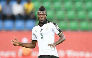 Thomas Partey con la selección de Ghana en el choque ante Uganda