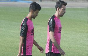 Bueno y Cuenca, durante un entrenamiento.