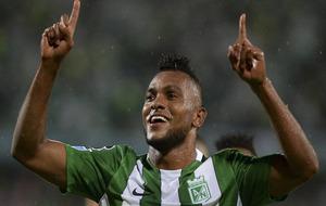 Borja celebrando un gol con el Atlético Nacional
