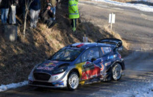 Sebastien Ogier, durante el primer día del rally de Montecarlo