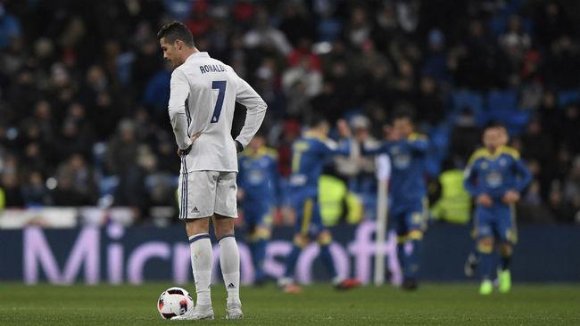Ronaldo se lamenta tras un gol del Celta