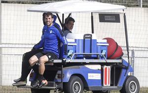 Víctor Sánchez, ayer llegando al campo de entrenamiento