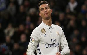 Cristiano con gesto serio durante el último partido del Real Madrid