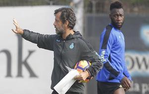 Quique y Caicedo durante un entrenamiento.