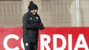 Jorge Sampaoli, en el entrenamiento del Sevilla.