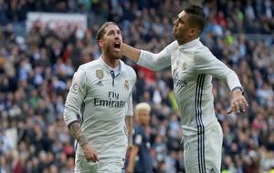 Sergio Ramos celebra su doblete