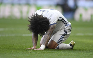 Marcelo, tras lesionarse en el duelo ante el Málaga.