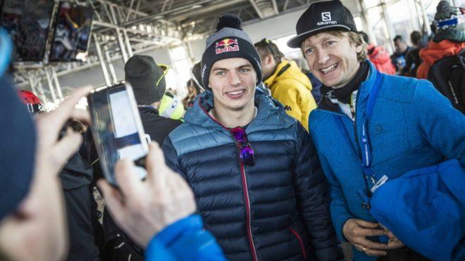 Verstappen, con un fan en Kitzbuhel.