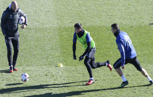 James y Cristiano, durante un entrenamiento.