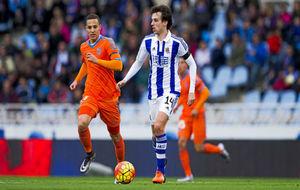 Rubén Pardo, en un partido con la Real Sociedad