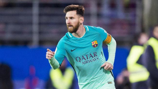Messi celebra su gol en Ipurua.