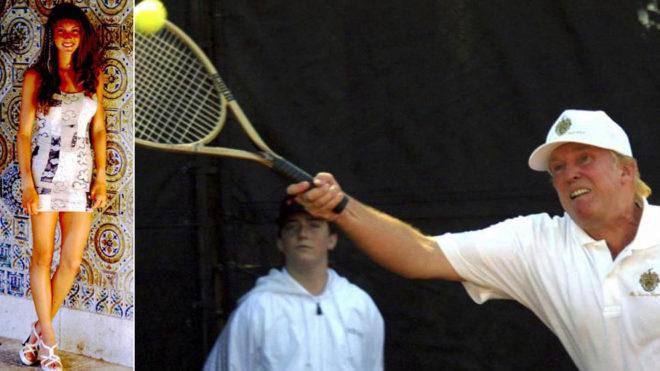 Trump, jugando al tenis con una raqueta dorada y Viele, en una sesión...