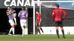 Los jugadores del Valladolid celebran uno de los goles al Mallorca