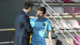 Messi y Bartomeu.