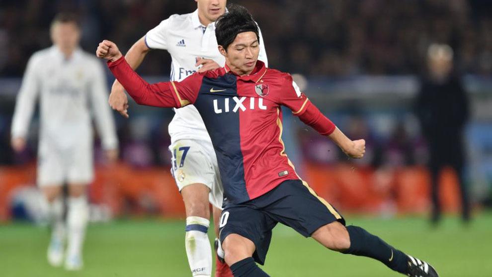 Gaku Shibasaki durante un partido del Mundial de Clubes