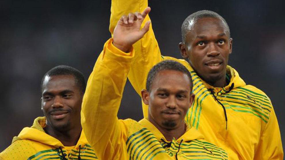 Nesta Carter, Michael Frater y Usain Bolt, en Pekín