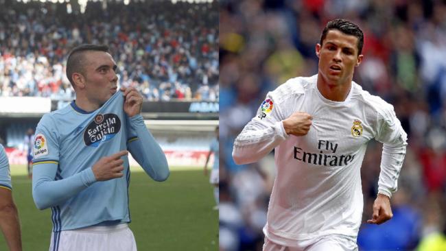 Iago Aspas y Cristiano Ronaldo celebran un gol