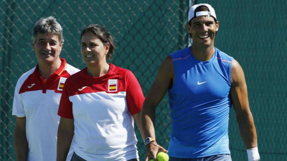 Conchita Martínez junto a Rafa Nadal, recientemente clasificado para...