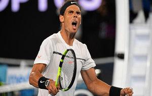 Rafa Nadal celebra su victoria ante Dimitrov y su pase a la final del...