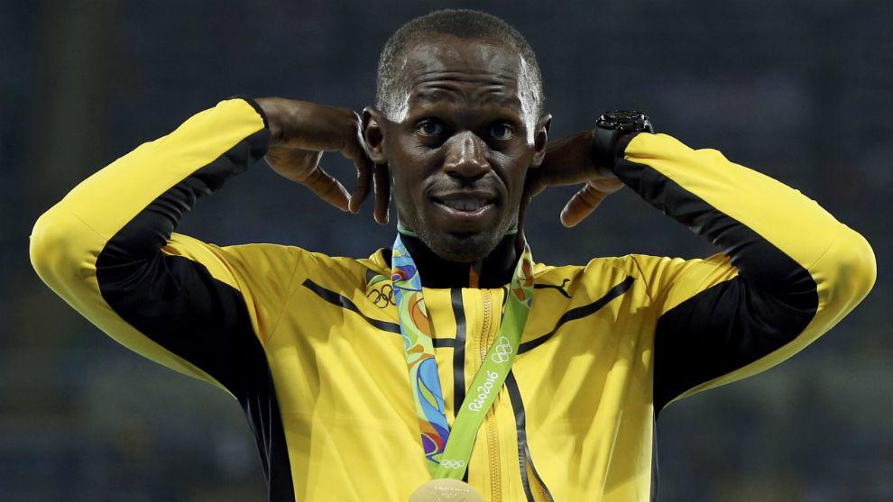 Usain Bolt, en el podio.