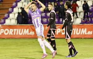 José Arnáiz celebra el tanto del empate en Zorrilla