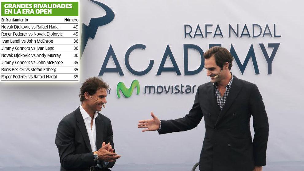 Nadal (30) y Federer (35), durante la inauguración oficial de la Rafa...