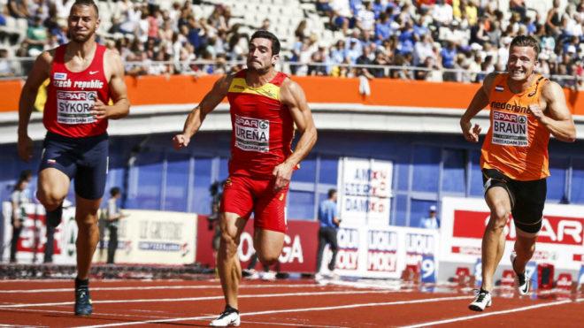 Jorge Ureña, en el centro, durante los 100 metros del Europeo de...