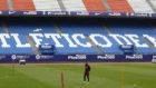 Simeone, durante un entrenamiento en el Vicente Calder�n.