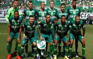 El once del Chapecoense que se enfrentó al Palmeiras en un amistoso.