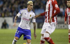 Jesús Valentín en un partido con el Real Zaragoza.