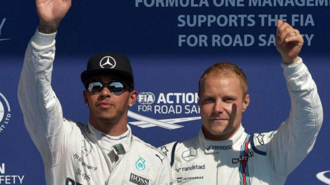Hamilton y Bottas, en el GP de Bélgica de 2015.