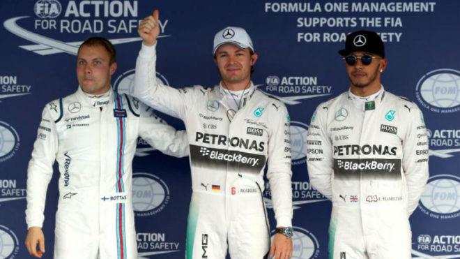 Bottas, Rosberg y Hamilton, en el GP de Rusia de 2015.
