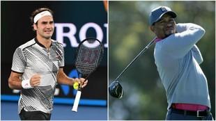 Roger Federer y Tiger Woods, dos mitos vivientes del deporte.