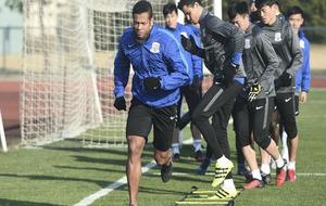 Fredy Guarín ejercitándose en un entrenamiento en la ciudad...