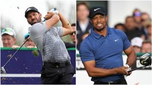 Sergio Garcúa y Tiger Woods, durante la primera jornada del Dubái...