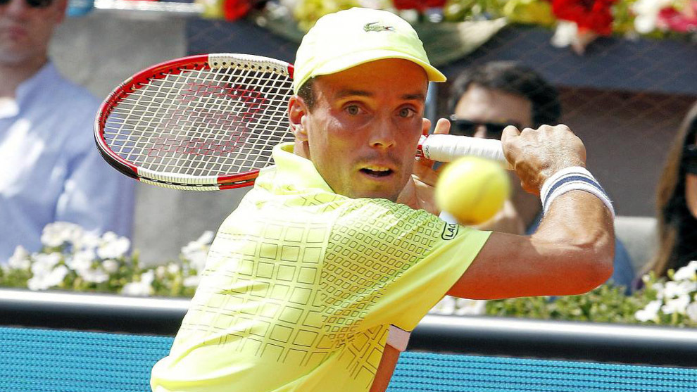 Bautista durante un partido de la Mutua Madrid Open.