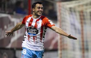 Joselu celebra un gol con el Lugo esta temporada.