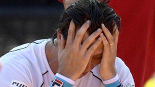Carlos Berlocq lamentándose en la eliminatoria de Copa Davis ante...