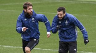 Ramos y Nacho en un entrenamiento