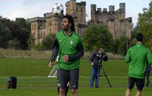 Samaras en un entrenamiento con el Celtic.