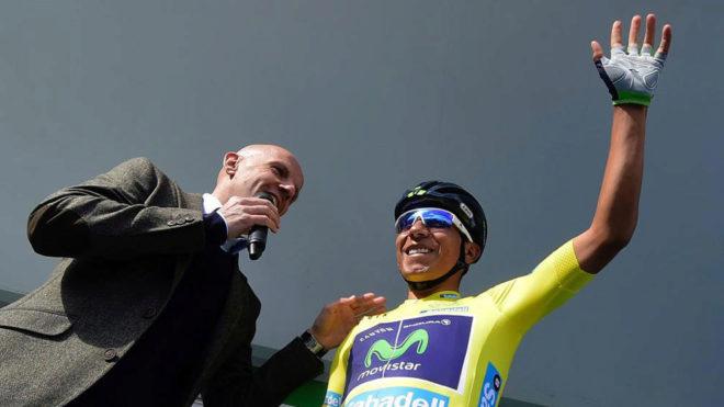 Nairo Quintana celebra el triunfo en la Volta a la Comunidad...