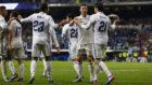 Los jugadores del Madrid celebran un gol esta temporada.