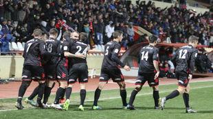 Los jugadores del Reus celebran el gol del empate ante el Getafe