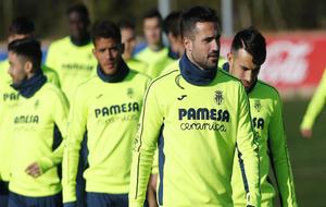 Mario Gaspar durante una sesión de entrenamiento con el Villarreal