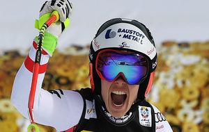El grito de Schmidhofer al saberse campeona del mundo en Saint-Moritz.